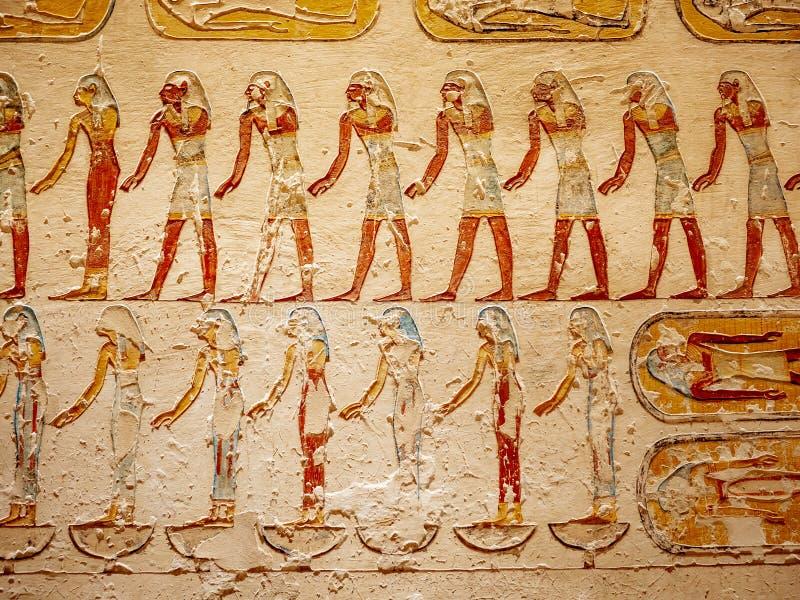 Vallei van de plaats van de Koningenbegrafenis voor Egyptische Pharaohs van de oude beschaving stock afbeeldingen