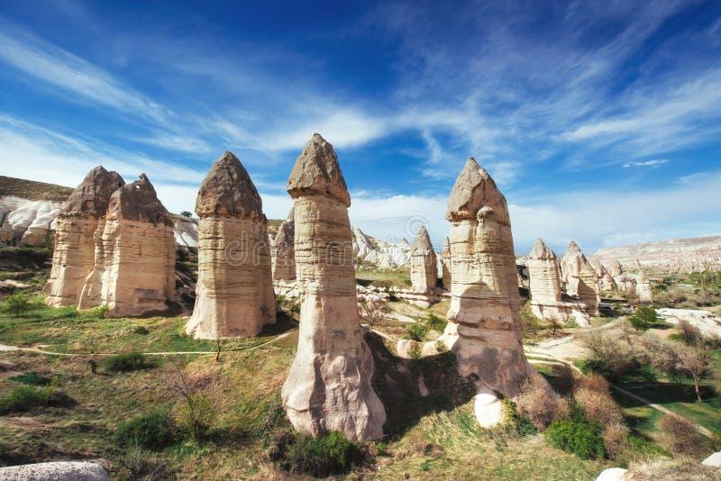 Vallei van liefde in zomer, Goreme, Cappadocia, Turkije royalty-vrije stock foto