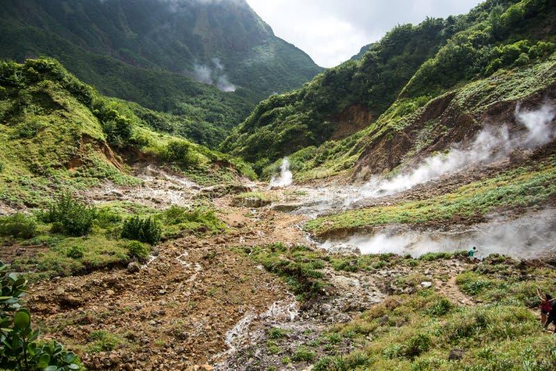 Vallei van Verlatenheid in Dominica stock afbeeldingen