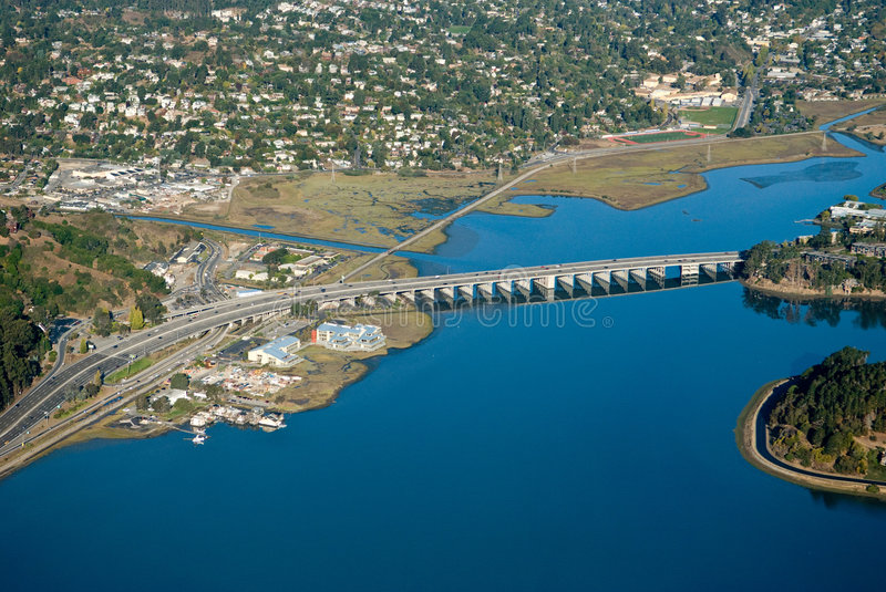 Vallejo bay from the air royalty free stock photo