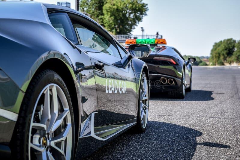 Vallelunga,罗马,意大利 2017年6月24日 Lamborghini Huracan主角 免版税库存图片