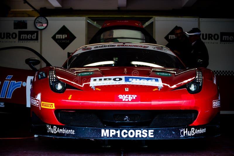 Vallelunga Italien september 24 2017 Turnera Ferrari den tävlings- bilen royaltyfria bilder