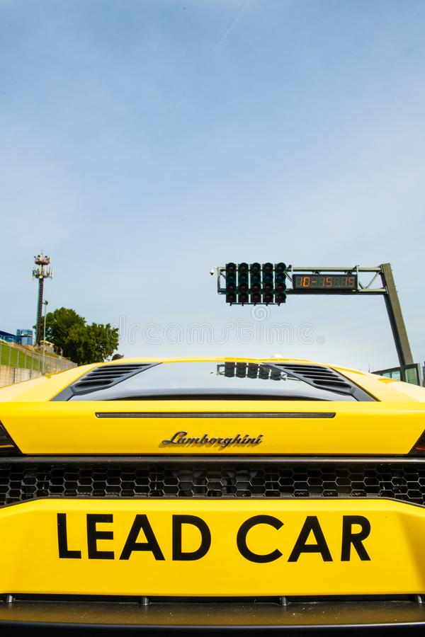 Vallelunga, Italy september 15 2019. Close up rear view of Lamborghini racing lead car royalty free stock photography