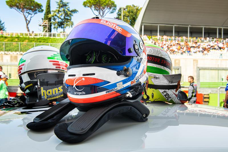 Vallelunga, Italy september 15 2019.  Racing car driver helmet close up stock photography
