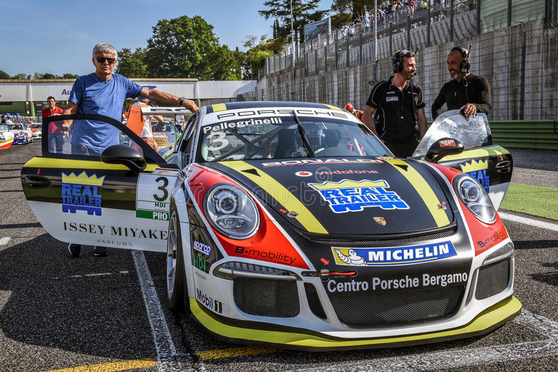 Vallelunga Rome, Italien Juni 24 2017 Italienare Porsche Carrera C arkivfoton