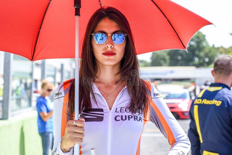Vallelunga Rome, Italien Juni 24 2017 Seat Leon Cupra Cup raster arkivbilder