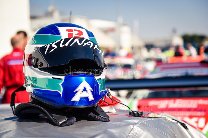 Vallelunga, Rome, Italy. June 24 2017. Car racing helmet close u. Vallelunga, Rome, Italy. June 24 2017. Racing helmet close up part of safety driver suite with royalty free stock photography