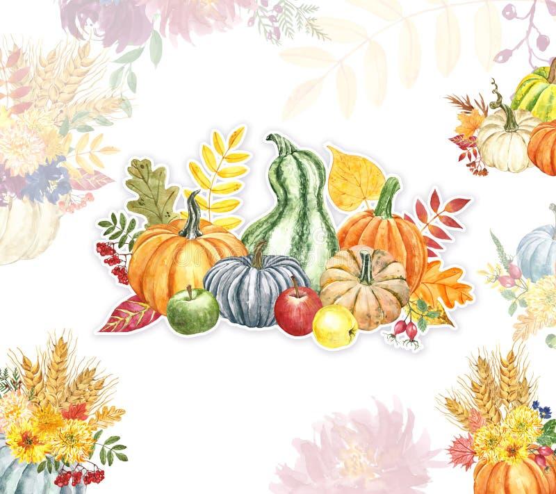 Vallen Vakantiekaartmodel, waterkleurige pompoenen, appels, herfstbladeren, bloemen, tarwe Oranje, blauw, geel en rood stock illustratie