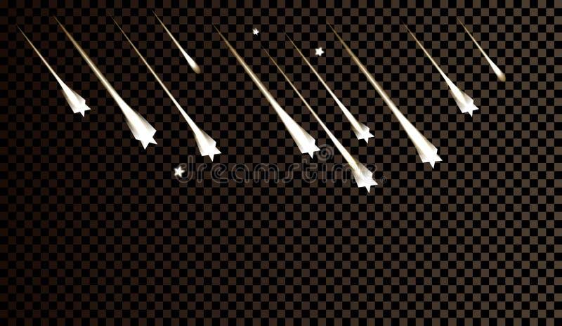 Vallende sterren, licht van het vallen van een meteoriet in de melkweg stock illustratie