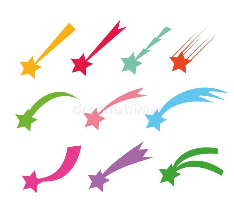 Vallende sterrenpictogrammen Vector dalende die stersilhouetten of kometen op witte achtergrond worden geïsoleerd Kleurenster met vector illustratie