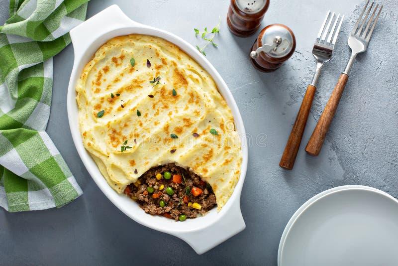 Valler pajen med jordkött och potatisar royaltyfri bild