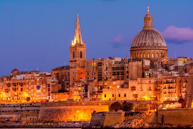 Valletta bis zum Nacht, Malta stockfoto