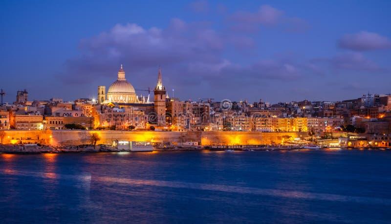 Valletta city, Malta, skyline from Marsans Harbour at blue hour stock photography