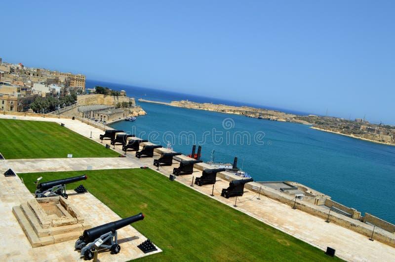 Valletta Grand Harbour View And Cannon Malta Stock Photo ...