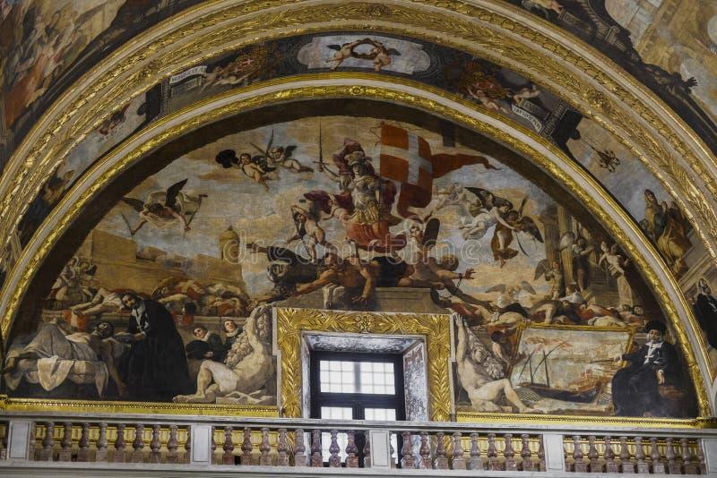 Valletta, het binnenlandse art. van Malta St John Roman Catholic Co-Cathedral royalty-vrije stock foto's