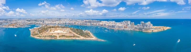 Valletta, Malta - Aerial panoramic skyline day time view of Valletta, Sliema, Manoel Island, Gzira, Ta` Xbiex, Msida stock image