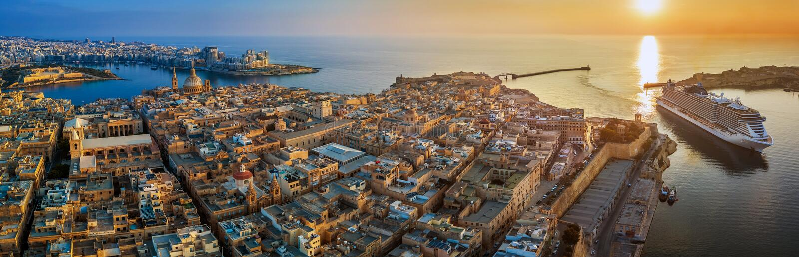 Valletta, Malta - Aerial panoramic view of Valletta with Mount Carmel church, St.Paul`s and St.John`s Cathedral stock photo