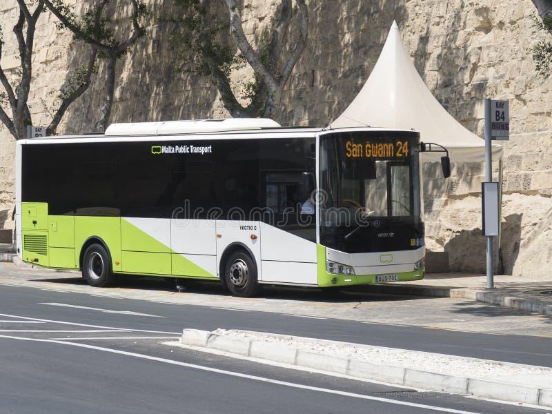 VALLETTA, MALTA - 4 DE AGOSTO DE 2016: O ônibus do transporte público de Malta estacionou na baía B4 imagens de stock royalty free