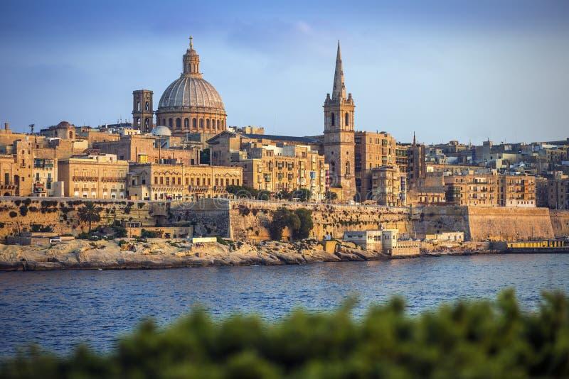 Valletta Malta - den berömda domkyrkan för StPaul ` s i Valletta royaltyfria bilder