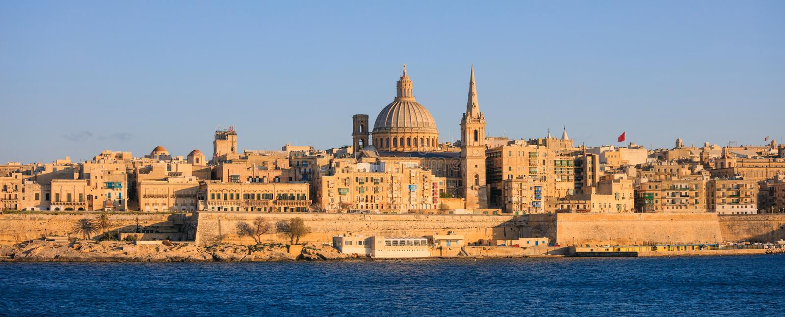 Valletta, Malta, Skyline in the afternoon with the dome of the Carmelite Church and the tower of St Paul`s royalty free stock photo