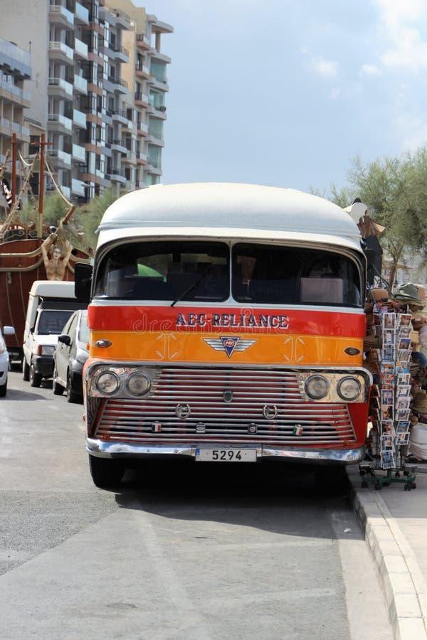 Valletta, Malta, July 2014. Old multicolored traditional famous Maltese bus stock photo