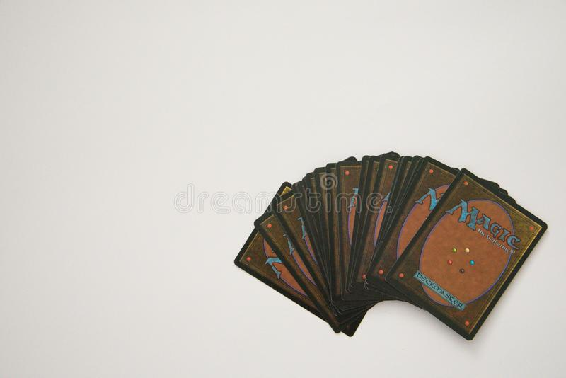 VALLETTA, MALTA - JULY 24TH, 2019: Magic: The Gathering cards on a white surface. Copy space royalty free stock images