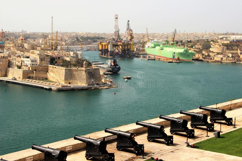 Valletta, Malta, July 2014.View of the historical central gun battery of Valletta. royalty free stock photo