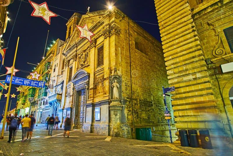 Evening lights of Valletta, Malta stock photography