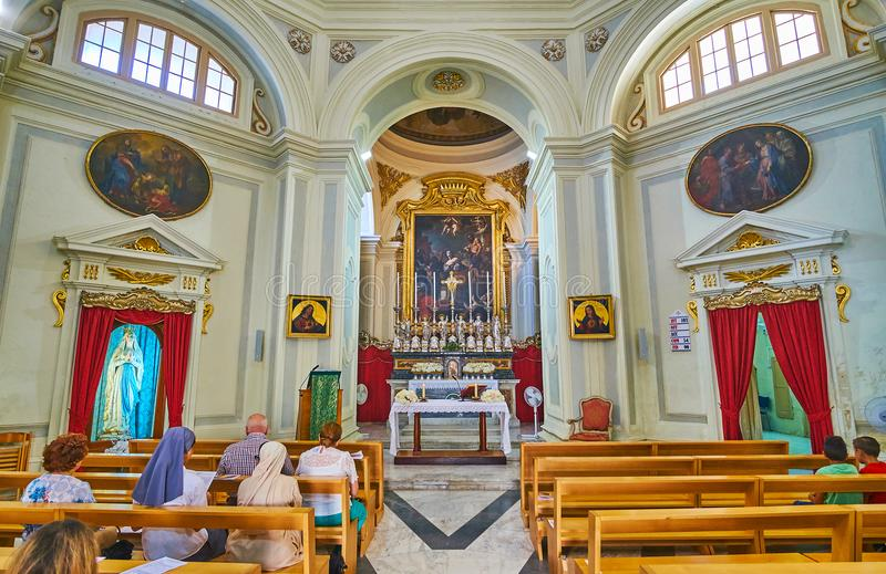 Interior of Italian Church of St Catherine of Alexandria, Vallet royalty free stock images