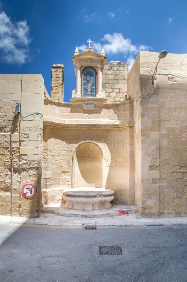 Valletta, Malta - May 9, 2017: Niche of the Madonna of Mount Carmel. Niche of the Madonna of Mount Carmel stock photography