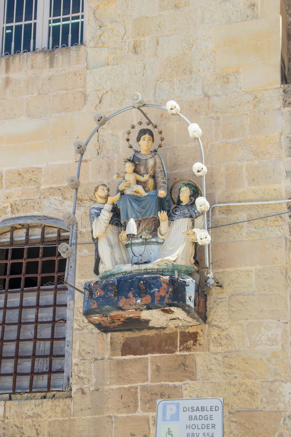 Valletta, Malta - May 9, 2017: Niche of the Madonna of Pompei. Valletta, Malta - May 9, 2017: Niche of the Madonna of Pompei royalty free stock image