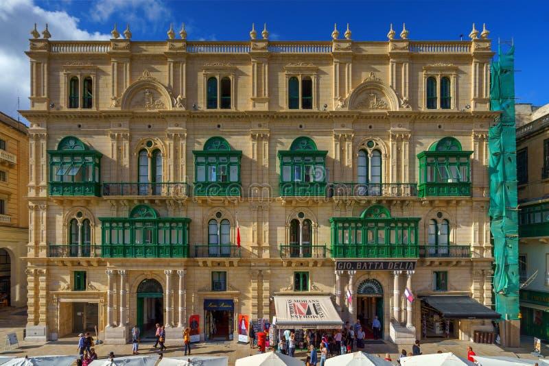 VALLETTA, MALTA - NOVEMBER 12, 2018 - Typical Maltese covered balconies stock images