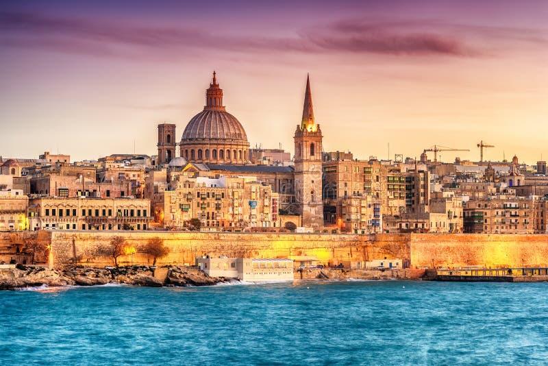 Valletta, Malta: skyline from Marsans Harbour at sunset stock image