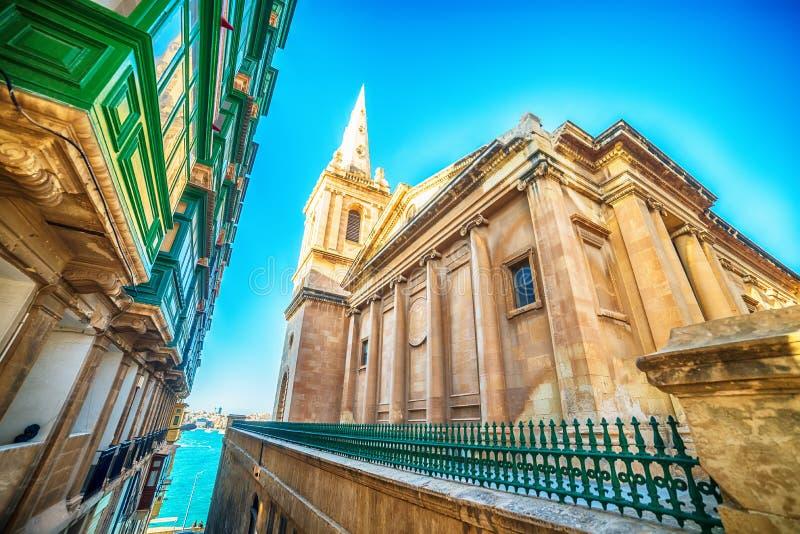 Valletta Malta: St Pauls Pro-Cathedral fotografering för bildbyråer