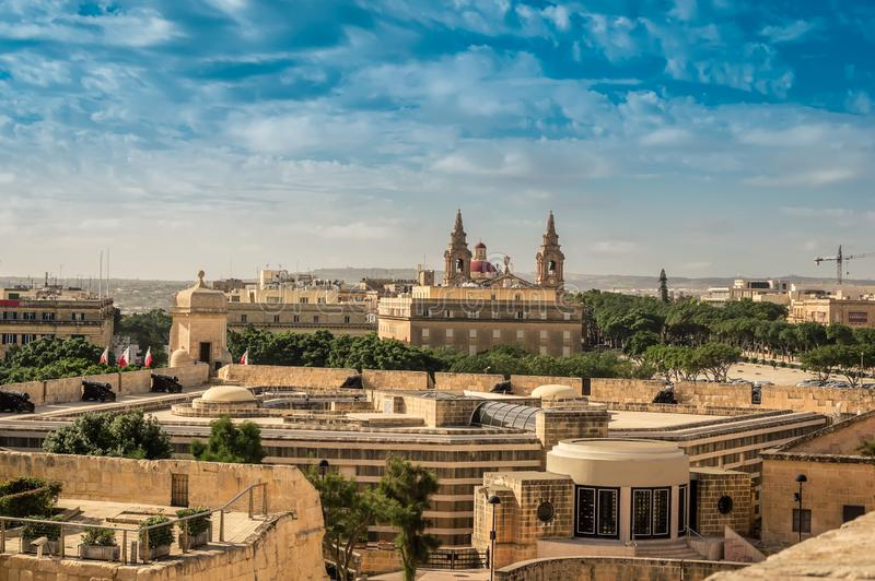 Valletta, Malta: View over medieval city fortification stock photo