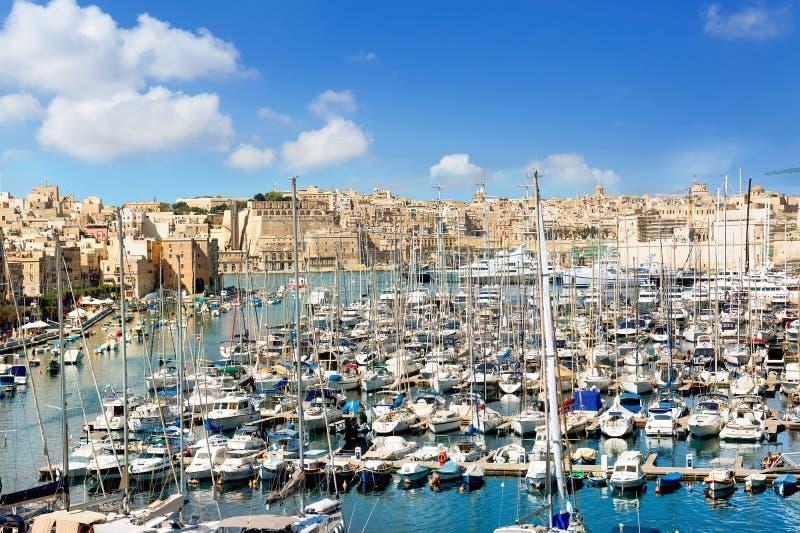 valletta Malta Widok miasteczko i schronienie fotografia royalty free