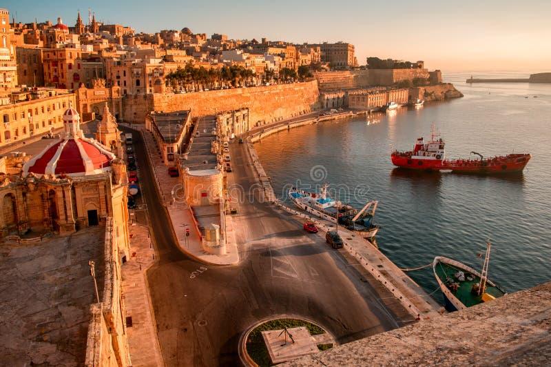 Valletta no amanhecer foto de stock