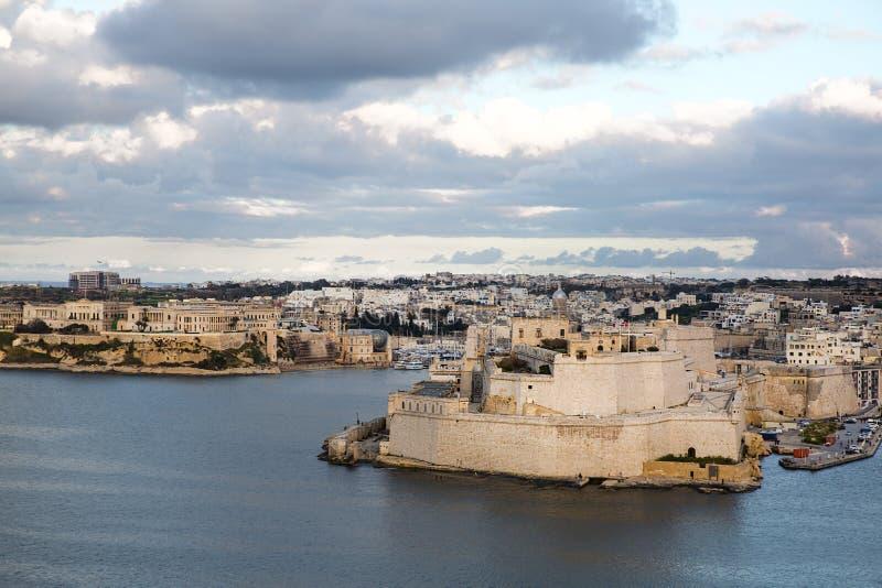 Valletta-Panoramablick, Zeit gl?ttend, Malta-Insel stockbild