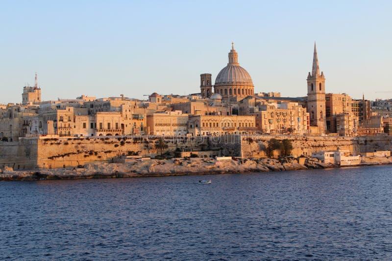 Valletta panoramautsikt, huvudstad, republik av Malta fotografering för bildbyråer