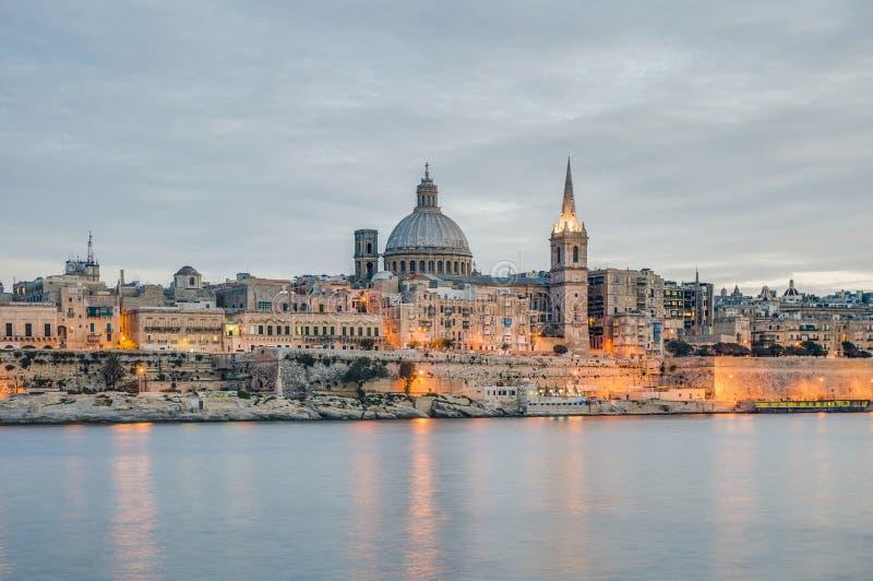 Valletta seafront skyline view, Malta. Valletta seafront skyline view as seen from Sliema shoreline, Malta royalty free stock photos