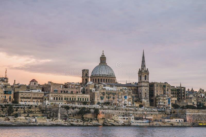Valletta-Seeseite-Skylineansicht, Malta lizenzfreies stockbild