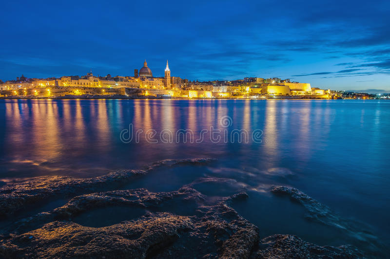 Valletta-Seeseite-Skylineansicht, Malta lizenzfreies stockfoto
