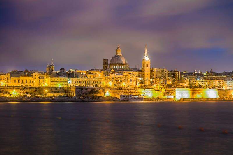 Valletta-Seeseite-Skylineansicht, Malta stockfotos