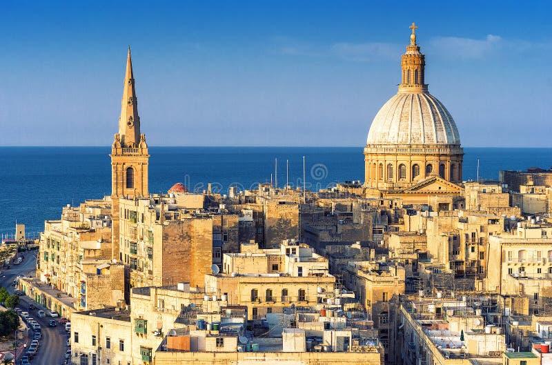 Valletta-Skyline, Malta lizenzfreies stockbild