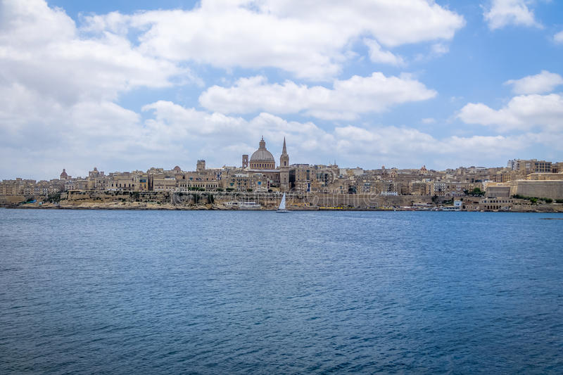 Valletta skyline from Sliema with Basilica of Our Lady of Mount Carmel - Valletta, Malta stock photography