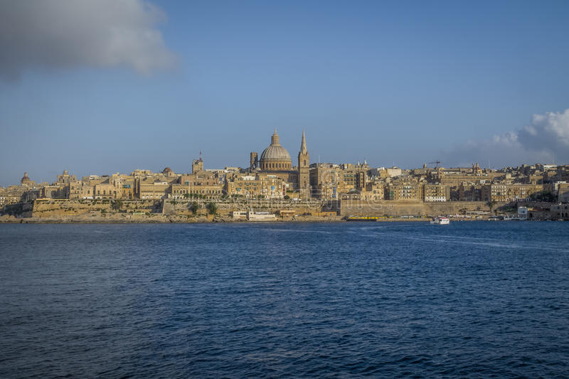 Valletta skyline from Sliema with Basilica of Our Lady of Mount Carmel - Valletta, Malta royalty free stock images