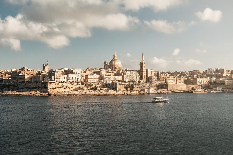 Valletta skyline from Sliema with Basilica of Our Lady of Mount Carmel - Valletta, Malta stock image