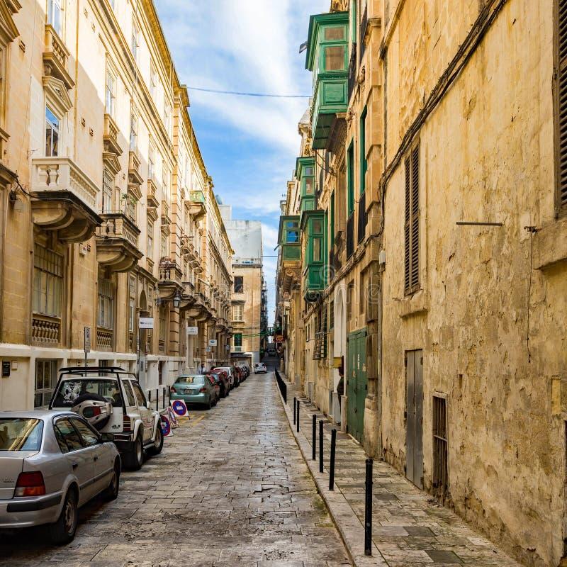 Valletta - små gator arkivfoto