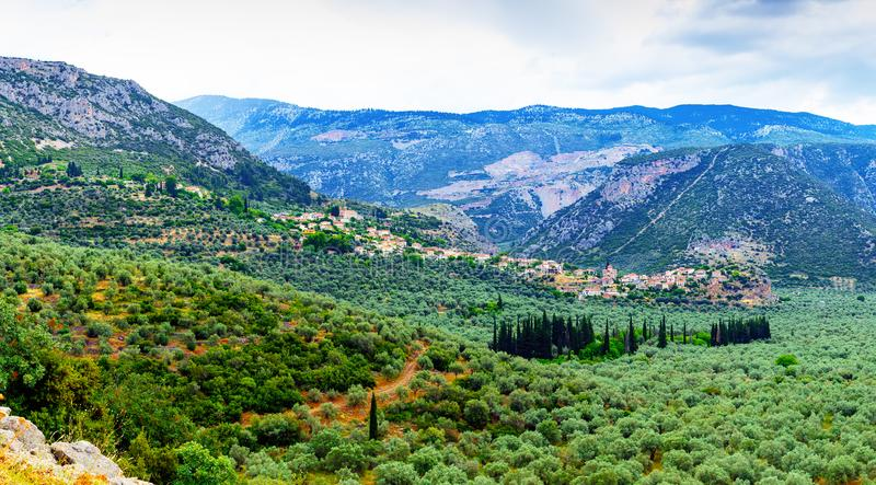 Valley of Amfissa, is a town in Phocis, Greece. Part of the municipality of Delphi royalty free stock photo