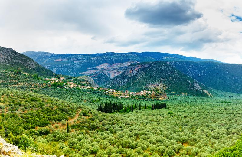 Valley of Amfissa, is a town in Phocis. Greece, part of the municipality of Delphi royalty free stock photos